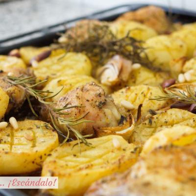 Asado de pollo con patatas