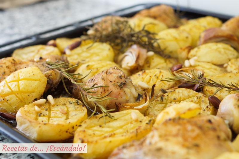 Asado de pollo al horno con patatas