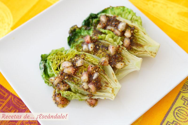 Cogollos a la plancha con salsa de miel y mostaza