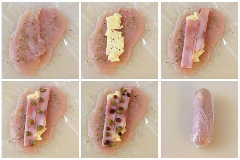 Receta de pechugas de pollo rellenas de jamón y queso y salsa de miel y mostaza