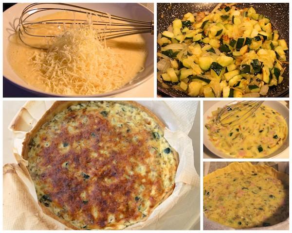 Cómo preparar la receta de quiche de jamón, queso y calabacín