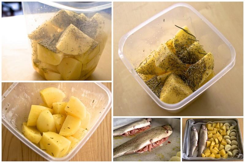 Cómo preparar trucha al horno y patatas al romero copia