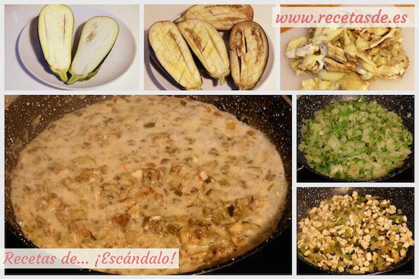 Receta de berenjenas rellenas de pollo y roquefort