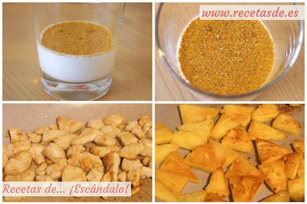 Preparar la ensalada de pollo a la plancha con piña, salsa agridulce y leche de coco al curry