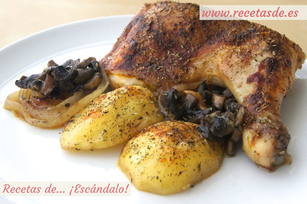 Receta de pollo asado al horno con champiñones