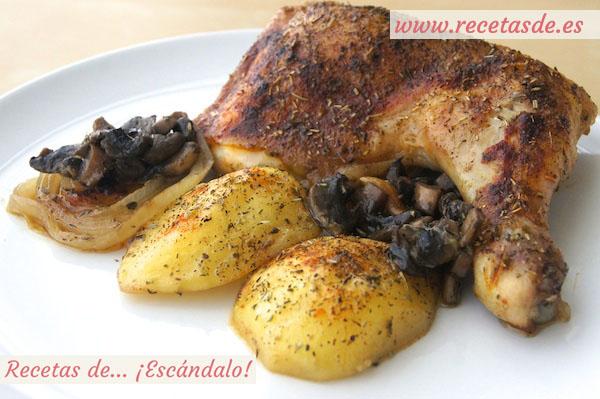 Pollo asado al horno con champiñones - Recetas de Escándalo