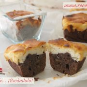 Brownie de chocolate y tarta de queso con nueces