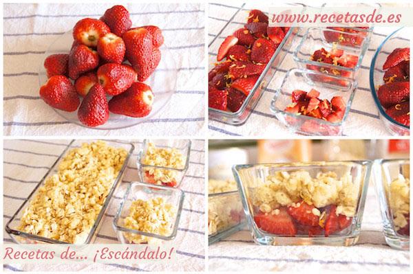 Cómo hacer crumble de fresas