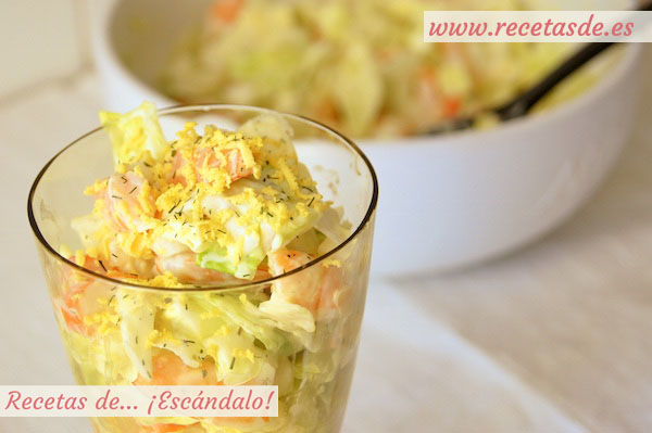Receta de ensaladilla de marisco con gambas y mayonesa ligera