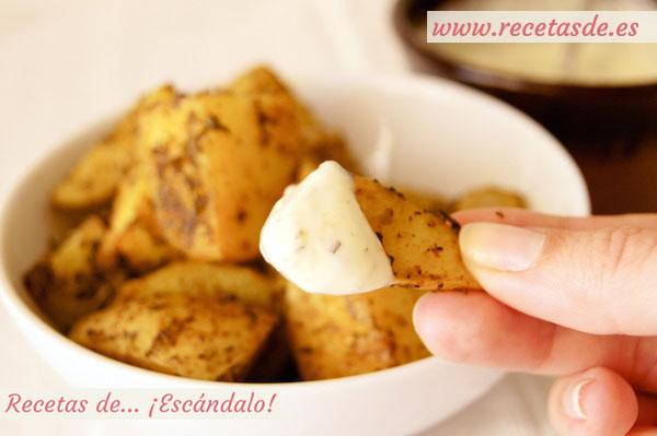 Receta de patatas deluxe o patatas gajo asadas al horno, con su salsa