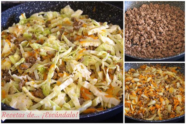 Como preparar el relleno de los rollitos de primavera caseros al horno