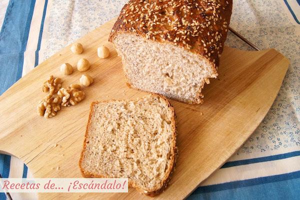 Pan de molde casero con semillas y frutos secos