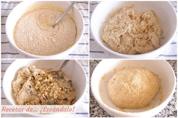 Preparando la masa del pan de molde integral casero