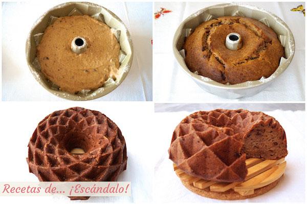 Como hacer un bizcocho casero bundt cake de platano, chocolate y canela