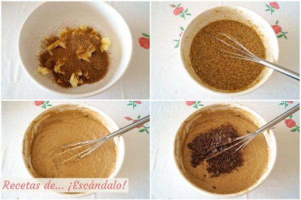 Preparando un bizcocho casero bundt cake de platano, chocolate y canela