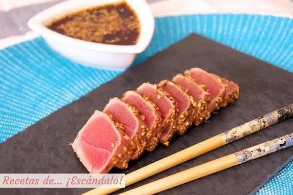 Receta de tataki de atun rojo con sesamo