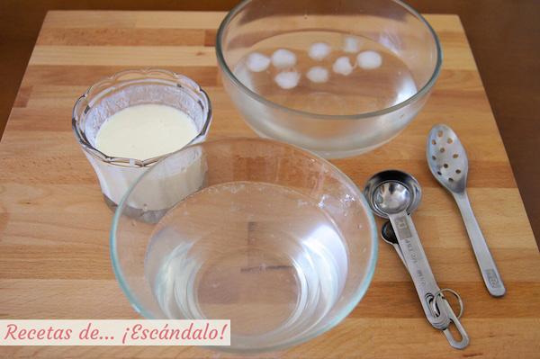Preparacion de las esferas de yogur