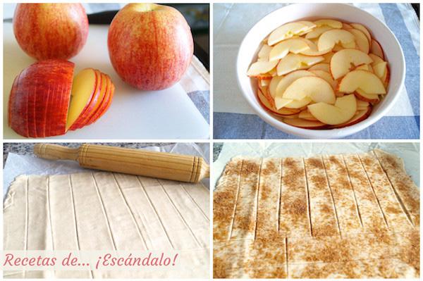 Preparando rosas de manzana y hojaldre