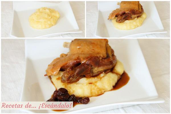 Sirviendo el confit de pato con salsa Pedro Ximenez y pure de patatas y manzanas