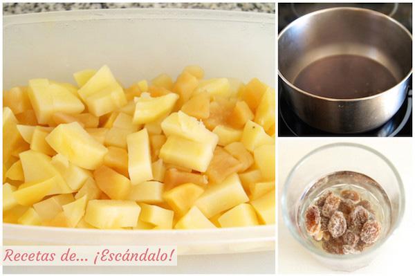 Receta de pure de patatas y manzana y reduccion de Pedro Ximenez