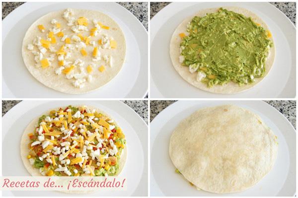 Como hacer quesadillas mexicanas de pollo y queso con verduras y aguacate