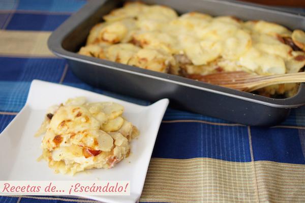 Patatas al horno gratinadas o tartiflette