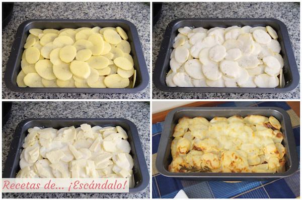 Patatas gratinadas al horno o tartiflette