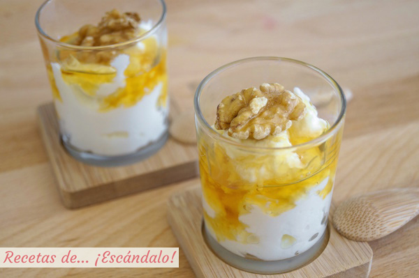 Receta de queso fresco con miel y nueces (mel i mato)
