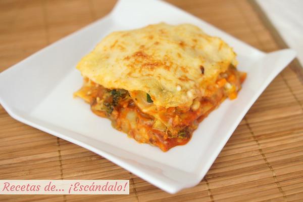Receta de lasana de verduras, vegetariana y saludable
