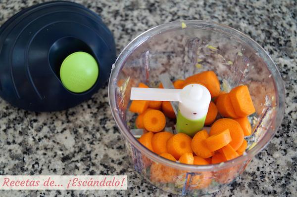 Picando zanahorias con picadora chop chop kuhn rikon