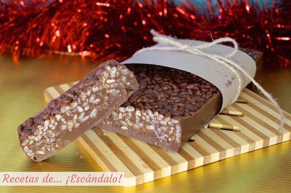 Turron de chocolate casero y crujiente, receta muy facil