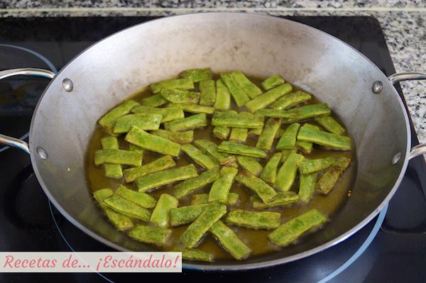 Judias verdes o alubias verdes para el arroz con verduras