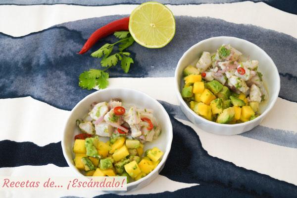 Ceviche de corvina peruano con aguacate y mango