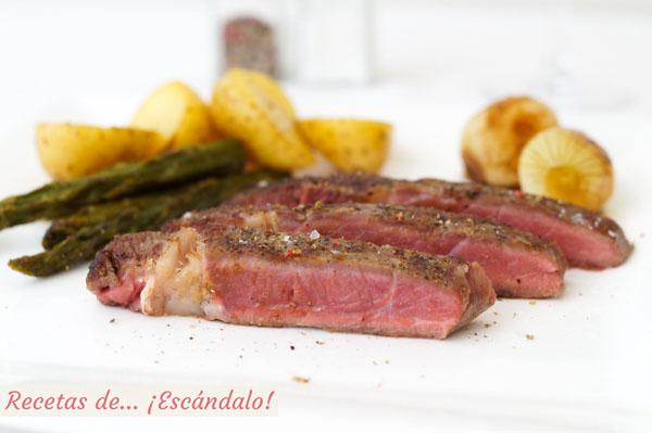 Receta de entrecot de ternera con verduras cocinado a baja temperatura o sous vide con roner