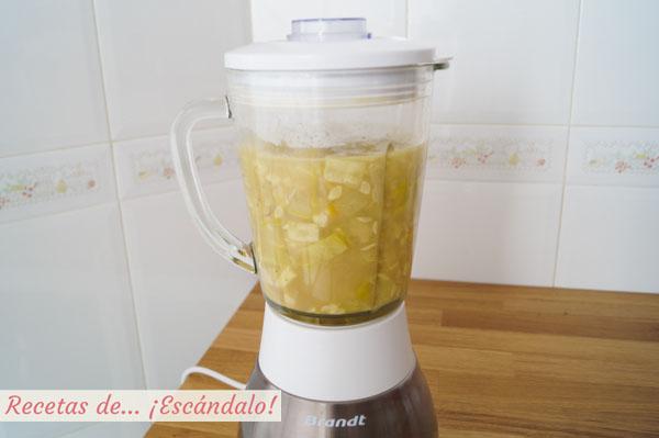 Calabacin y puerros en batidora de vaso para pure