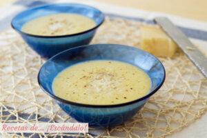 Pure de calabacin y puerros con queso