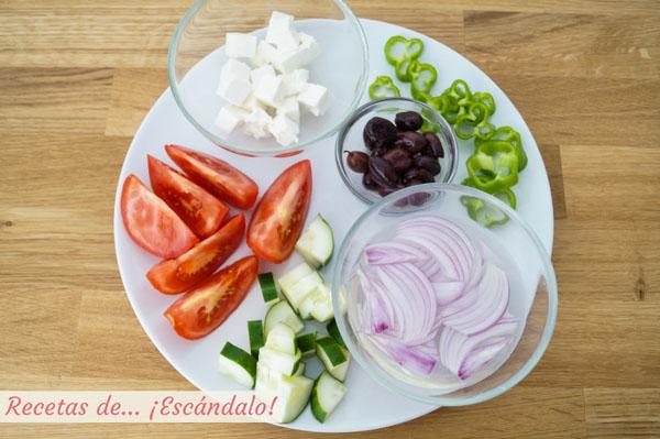 Ingredientes para la ensalada griega