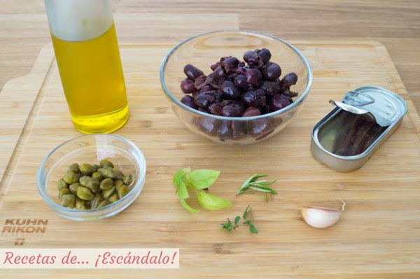 Ingredientes para la tapenade o pate de aceitunas negras