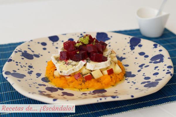 Receta de ensalada de remolacha con pure de zanahoria y queso de cabra