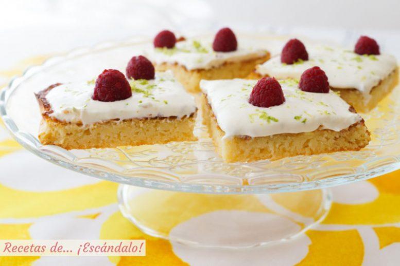 Bizcochitos de limon jugosos con crema de queso mascarpone y lima