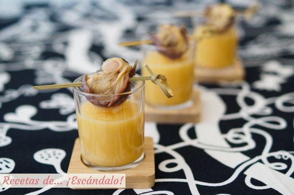 Como hacer crema de colinabo con brocheta de almejas y anchoas
