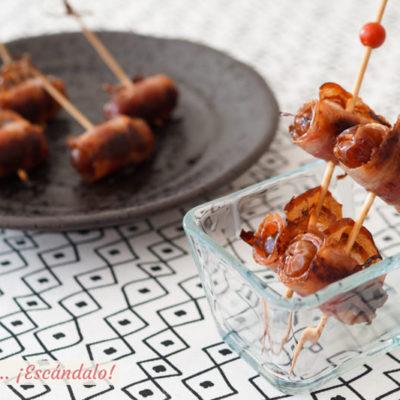 Daatiles con bacon al horno. Receta de aperitivo