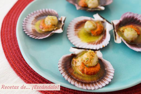 Receta muy facil de zamburinas a la plancha con salsa verde