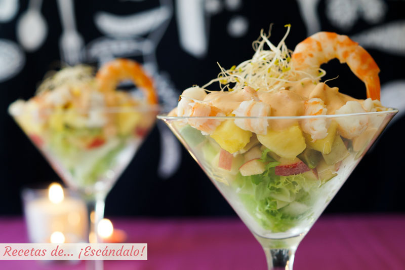 Cóctel De Marisco Tropical Con Piña Y Salsa Rosa Casera Receta Fácil Para Navidad