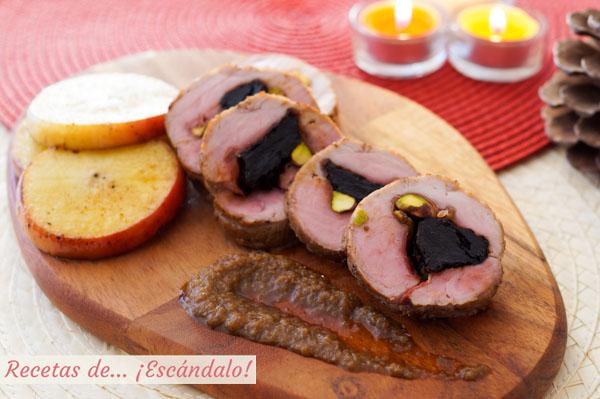 Como hacer solomillo de cerdo relleno al horno con manzana y salsa de cebolla al Oporto