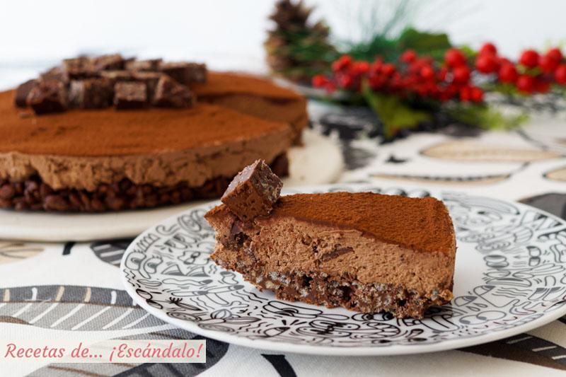 Tarta de turron de chocolate y queso. Receta muy facil y sin horno