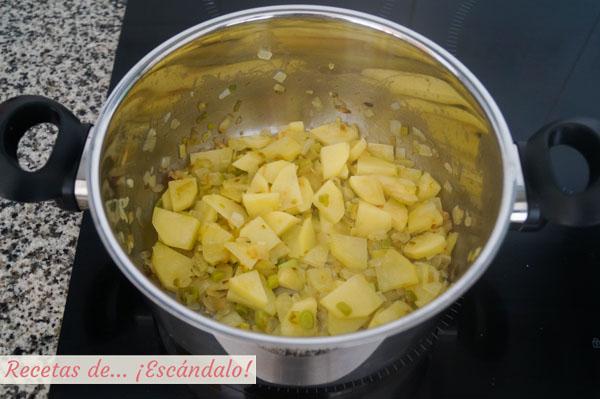 Cebolla, ajos tiernos y patata