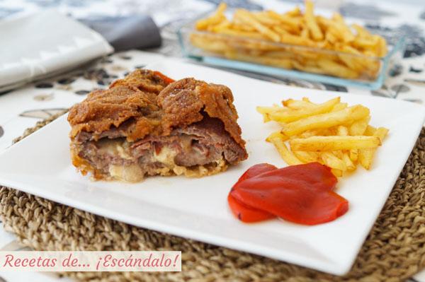 Receta de cachopo asturiano de ternera con patatas fritas y pimientos del piquillo