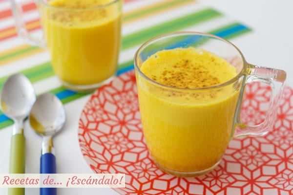 Receta de golden milk o leche dorada con curcuma y especias
