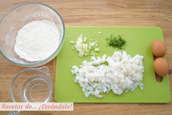 Ingredientes bunuelos de bacalao